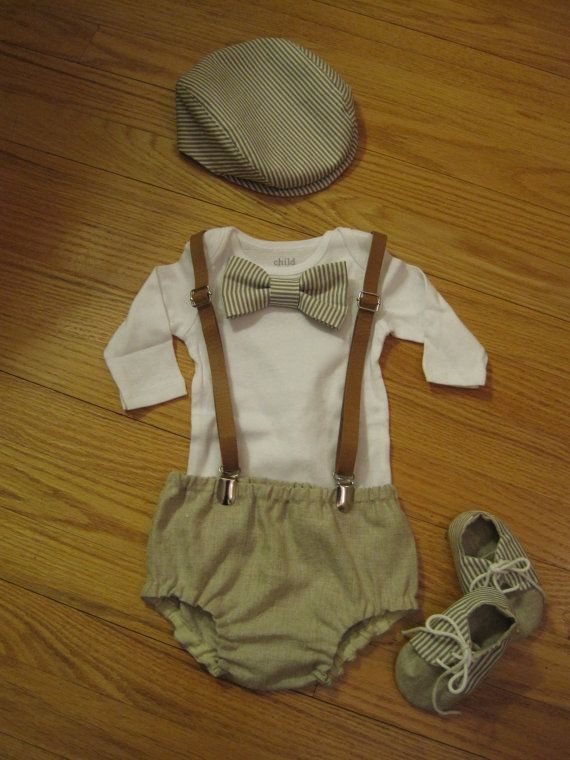 Baby Boy Vintage Outfit Diaper Cover Newsboy Hat By