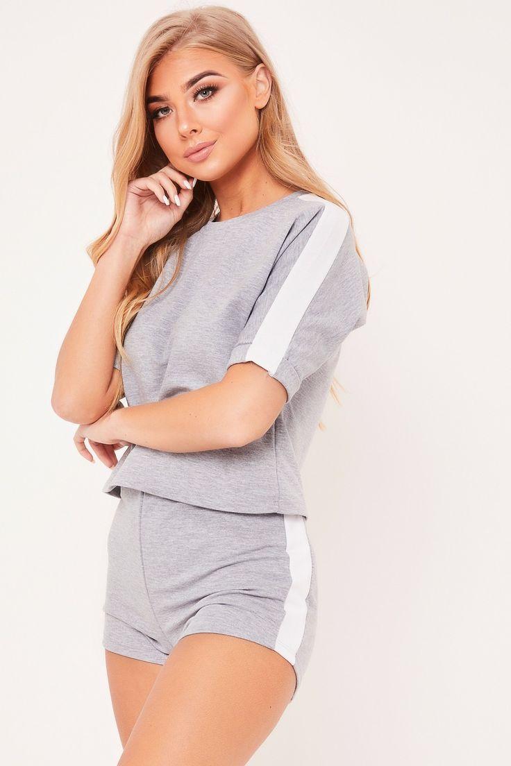 Macie Grey Side Stripe Short Loungewear Set Lounge wear