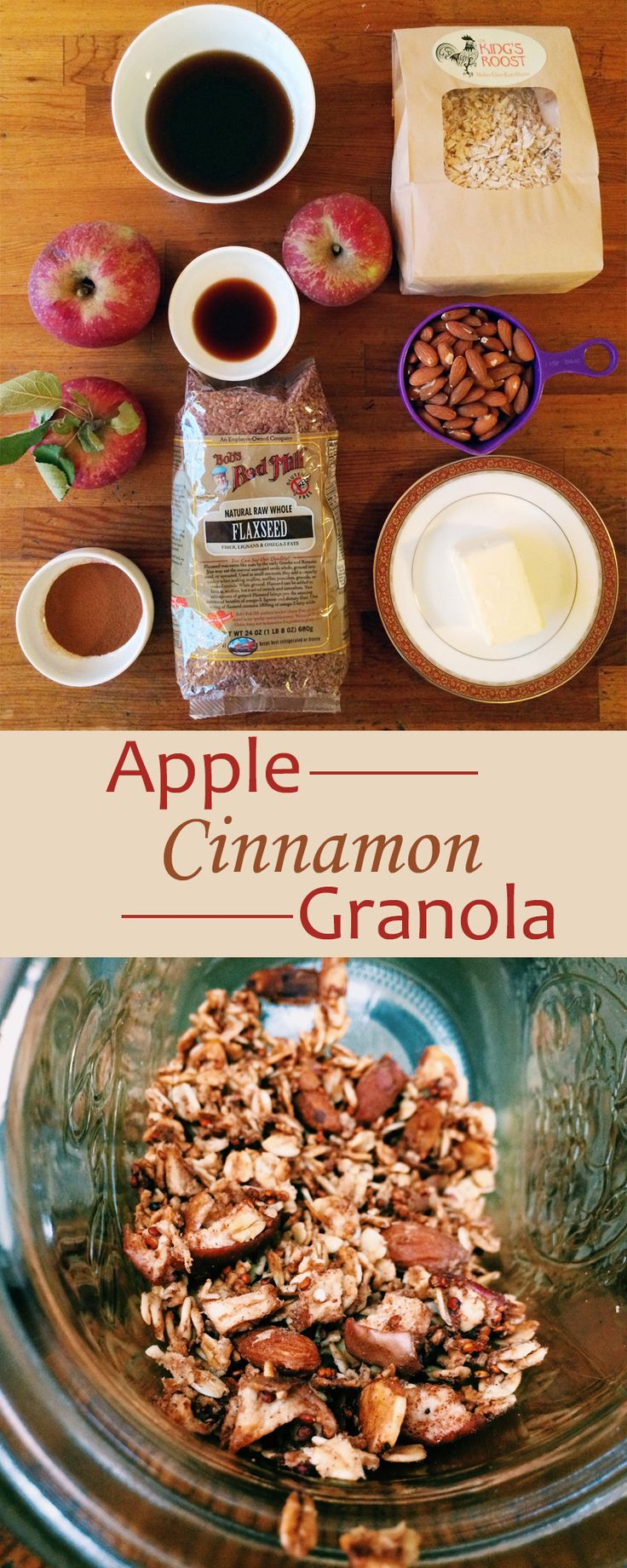 Apple Cinnamon Granola -- Apples and cinnamon are classic fall flavors. They both come together to create this healthy granola recipe that's crunchy, sweet, and perfectly spiced. // fall recipes // healthy fall recipes // easy recipes // breakfasts // snacks // beachbody // beachbody blog