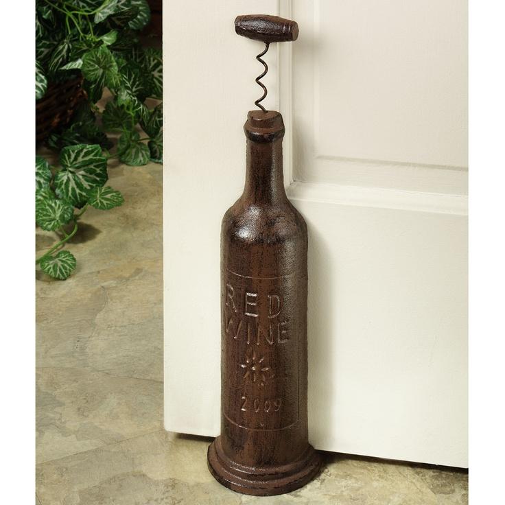 Red Wine Bottle Cast Iron Doorstop
