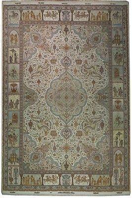 Unique 13x19 Handmade Masterpice Silk Wool Persian Rug Design Pattern Pictorial Pile