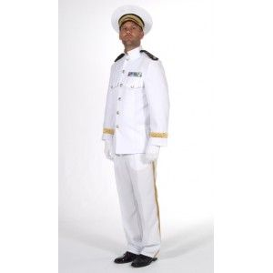 Déguisement officier blanc homme luxe, officier de la marine, uniforme, militaire, fêtes, carnaval