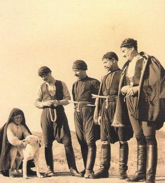 Cretans in traditional costumes.  Greek, early 20th century.