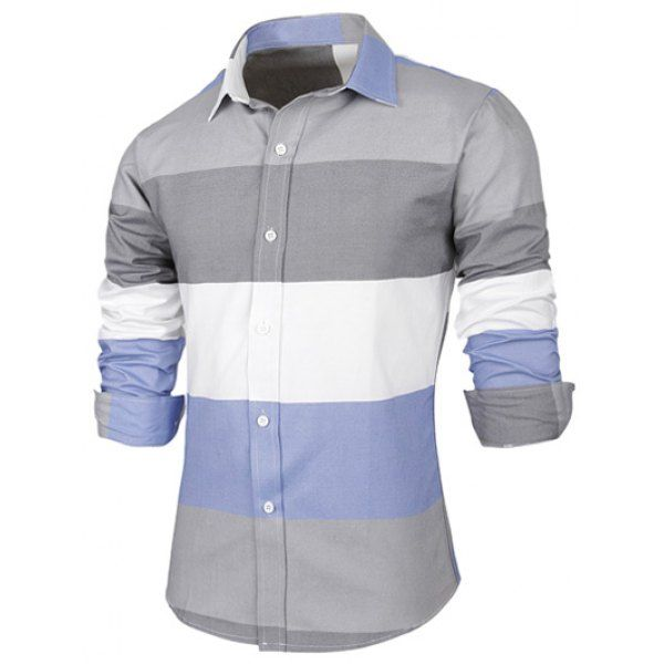 Contrast Color Striped Long Sleeve Shirt - GRAY L