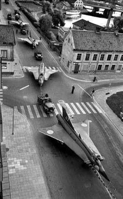 SAAB military planes, Linköping, Sweden.