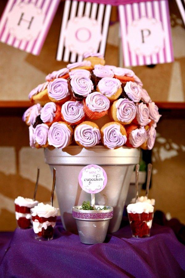 Purple mini cupcake bouquet & cake pop flower pots #dessert #batmitzvah