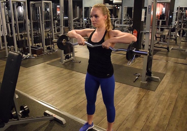 Upright Barbell Row Endposition