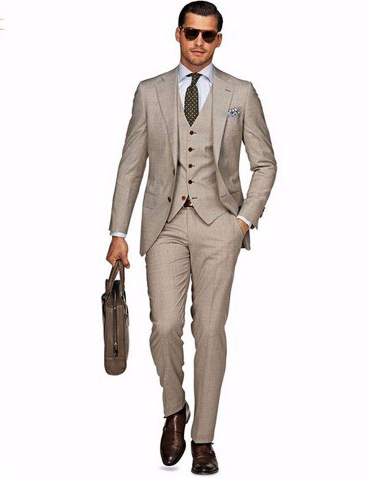 На заказ смокинг жениха светло-хаки жениха нотч свадьба / ужин костюмы жених ( куртка + брюки + галстук + жилет ) B455