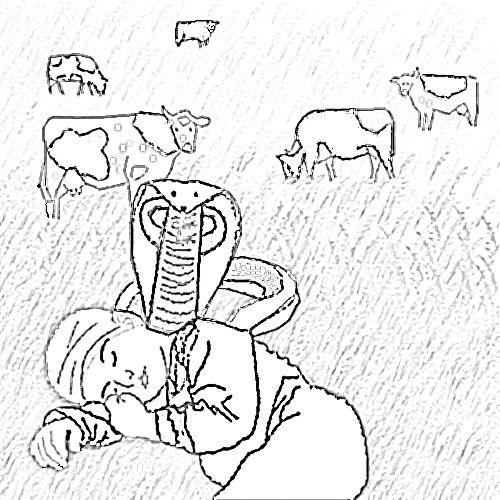 My personal favourite Guru Nanak story of the cobra shading the sleeping boy.