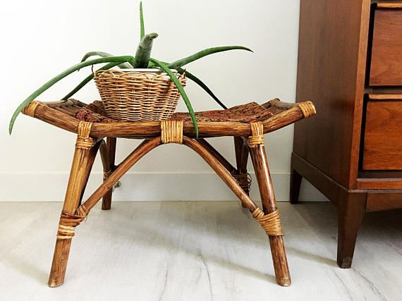 Vintage Bamboo Ottoman Rattan Cane Footrest Bamboo Bench Bamboo