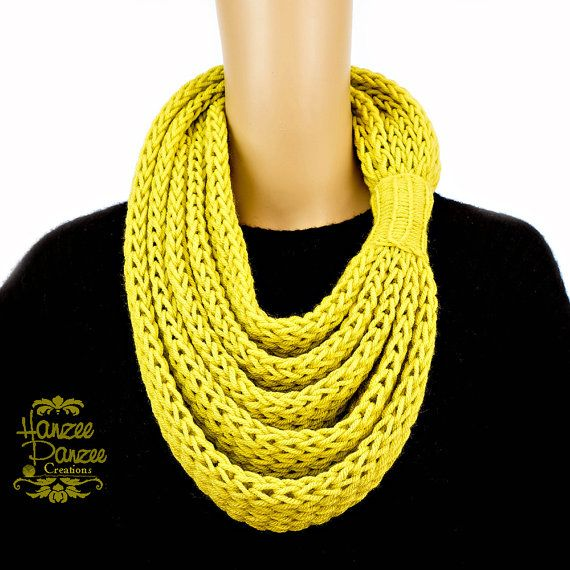 Knitted Infinity Scarf w/ Attached Cuff  by HanzeePanzeeCreation