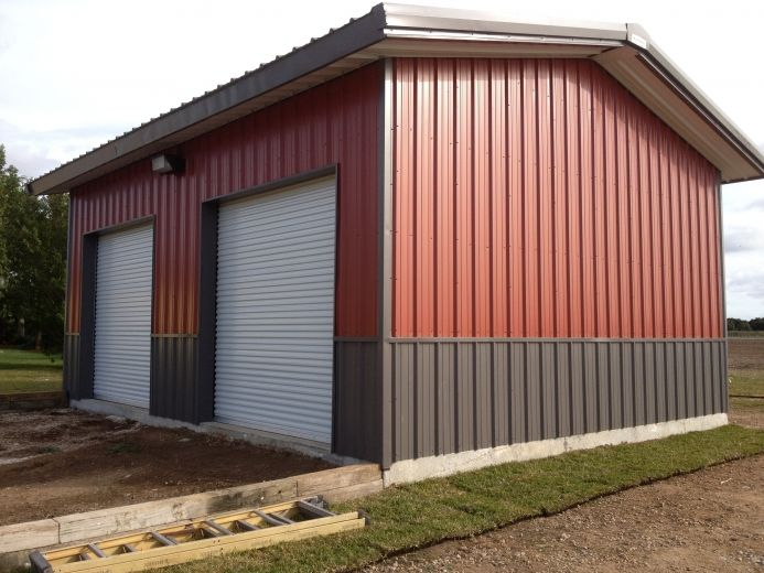 This metal building by buck steel which is a 30 39 x 25 39 x for 10x10 shop door