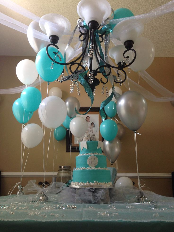 Sweet 16 tiffany blue i like the silver with it mom for 16 birthday decoration