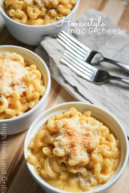 Super easy mac and cheese recipe! #dinner #side http://www.highheelsandgrills.com/2013/06/homestyle-mac-and-cheese.html