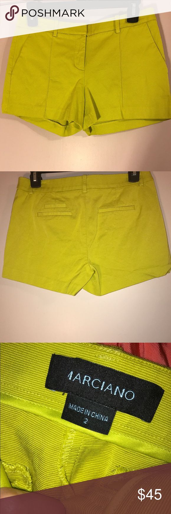 Marciano chatreuse color(neon yellow) shorts Short marciano shorts in yellowish green shade size 2 Marciano Shorts