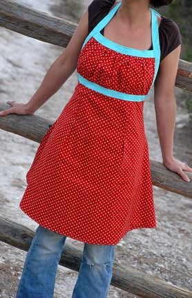 love the colors and style of this apron. Very cute patterns on this site. This would also be a cute dress I'd you sewed a back!