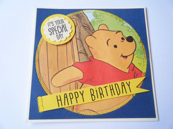 Handmade Winnie the Pooh birthday card, great idea for an old Little Golden Book