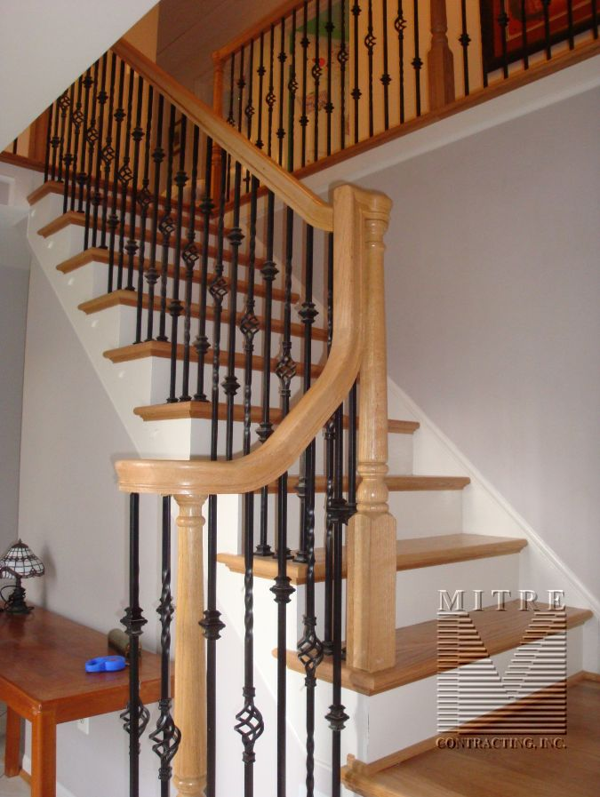 Best Oak Stair Railings Iron Balusters 2 Family Room Decor 400 x 300