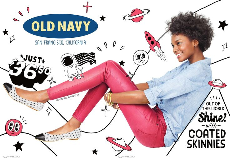 This Old Navy advertisement featured in Vogue, uses the Z pattern visual path. This pattern is shown by the formation of a Z. The Old Navy logo is the beginning of the Z path in the top left corner and scans across to the models hair, on the top right side of the ad. Then the ad scans down the models feet in the bottom left corner and ends with the quote about coated skinnies in the bottom right of the screen. Advertisement: Old navy. (2013, Sep 01). Vogue, 203, 158-158, 159.