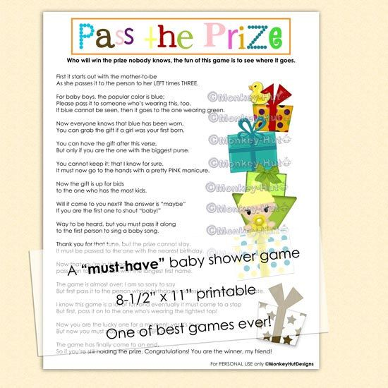 Pass The Prize Baby Shower Game (a Must Have And So Much Fun) / Neutral  Boys Girls Games Pass The Gift Printable PDF File INSTANT DOWNLOAD