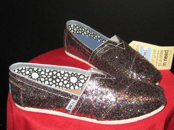 Women's Toms Classics Bright Multi Glitter SLIP-ON Flats Size 8.5 #Toms #BalletFlats #everyday