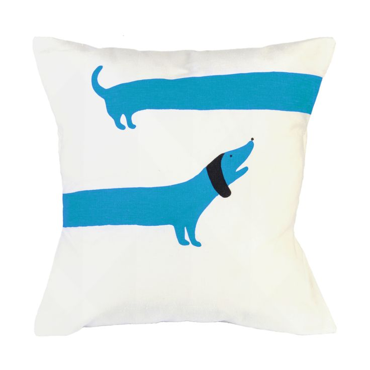 Sausage Dog screen printed cushion! BLUE