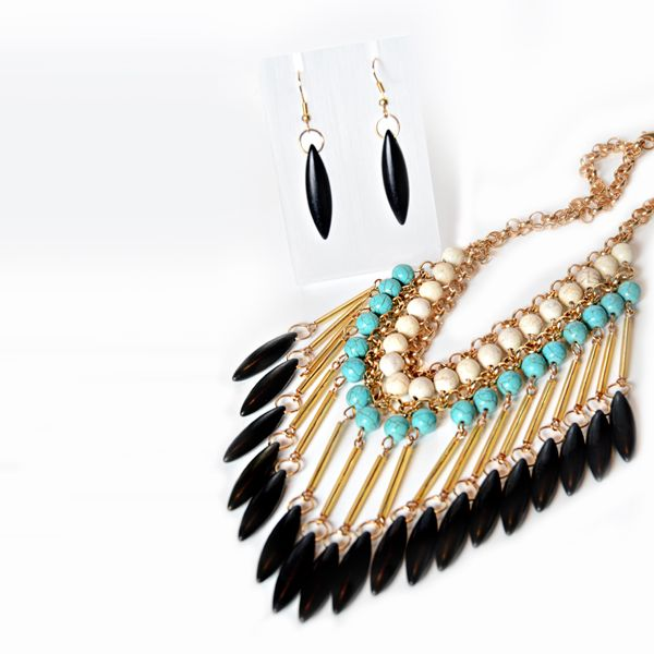 TURQUOISE/BLACK DECO #NECKLACE+ #EARRING SET JKNE070TUBK #jacquelinekent #ksajewelry #jacquelinekentjewelry