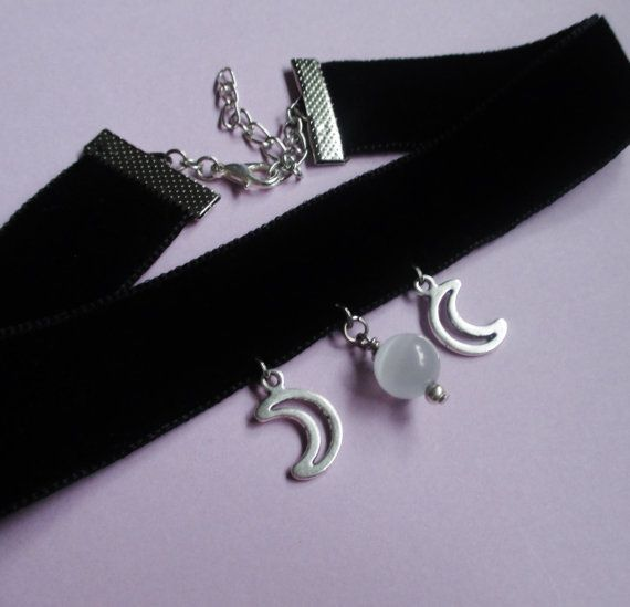 velvet moon choker, gothic choker, pastel goth, witchy jewelry, nugoth