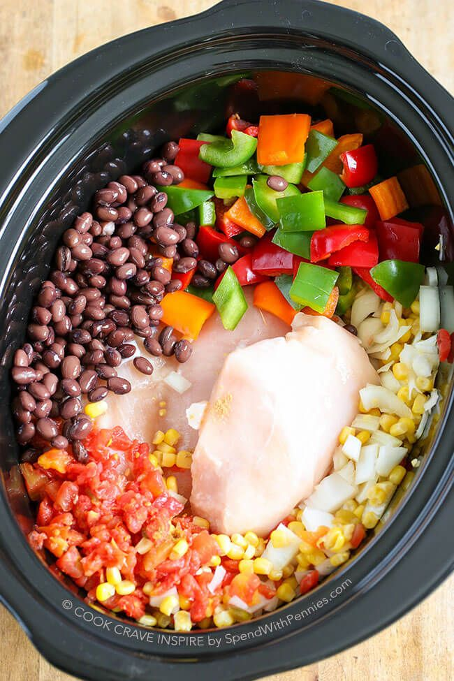 Slow Cooker Chicken Chili is the perfect weeknight meal loaded with chicken, peppers & beans. You can sub in cooked ground chicken in this white chili.