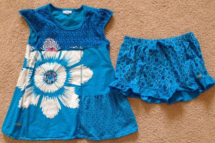 Naartjie Kids Clothing Group Size 7 Blue Flower Tunic And Ruffled Shorts This Did Have A Stain On It Thanks To The Post Office But