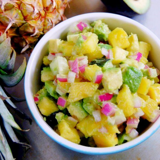Pineapple Avocado Salsa: the perfect topping for a quick poultry or seafood dinner!