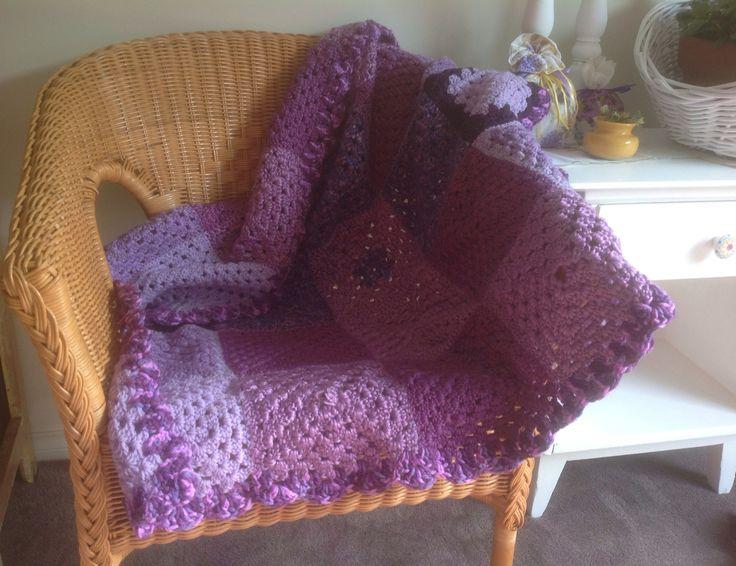 Handmade purple crochet blanket. $15 SOLD