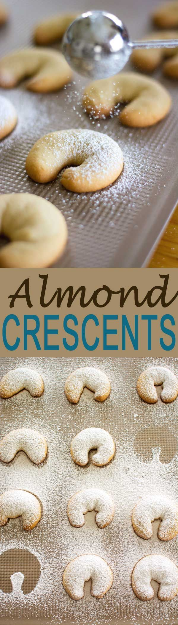 Almond Crescents made with ground almonds, flavored with vanilla and dusted with…