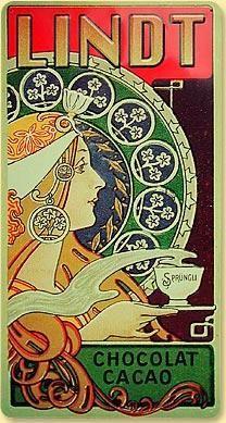 Vintage Art Nouveau Ad- Lindt Chocolat Cacao, Jugendstil