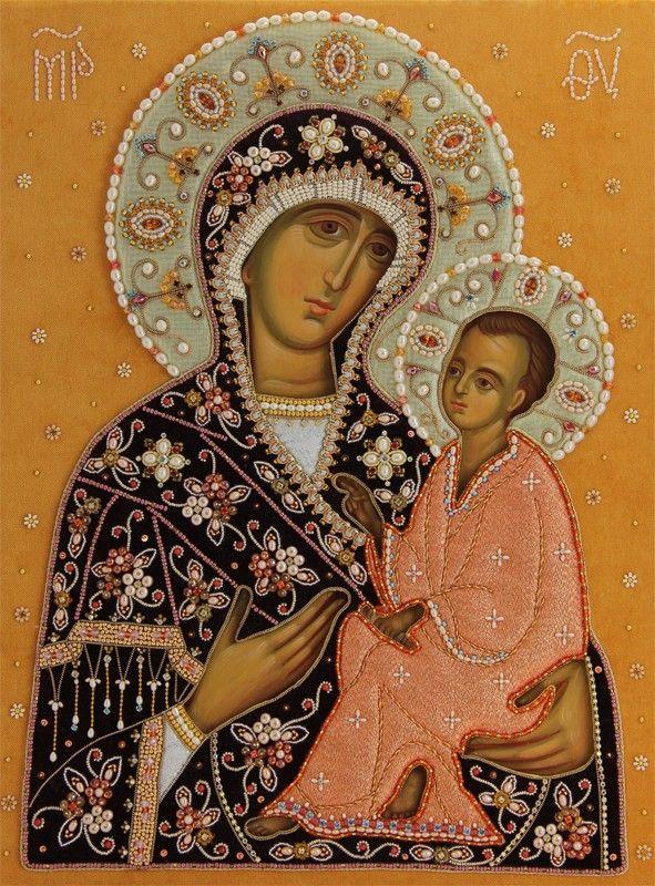 Mother of God of Tikhvin, made to order. Catalog of St Elisabeth Convent. #Catalogofgooddeed #MotherofGod #MotherofJesus #MotherandSon #VirginMary #Tikhvin #Theotokos #icon #oklad #textile #goldwork