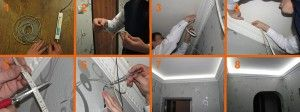 Монтаж подсветки в гипсокартоновый подвесной потолок