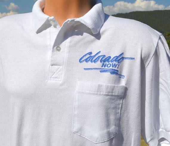 vintage 90s golf polo shirt COLORADO NOW pocket white soft