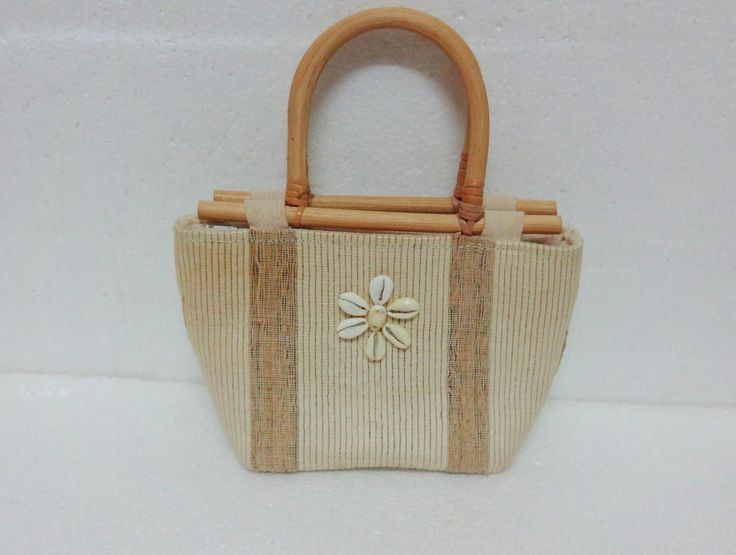 Rustic Jute Fabric Purse with Cane handle - Cowrie shells by uDazzle on Etsy