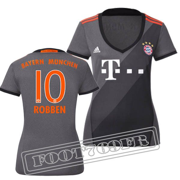 Promo Maillot Du Robben 10 Bayern Munich Femme Gris 16/17 Exterieur : Bundesliga