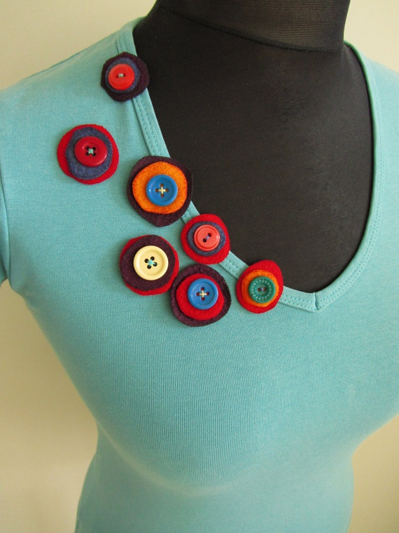 add interest to a shirt with a bit of scrap felt and buttons