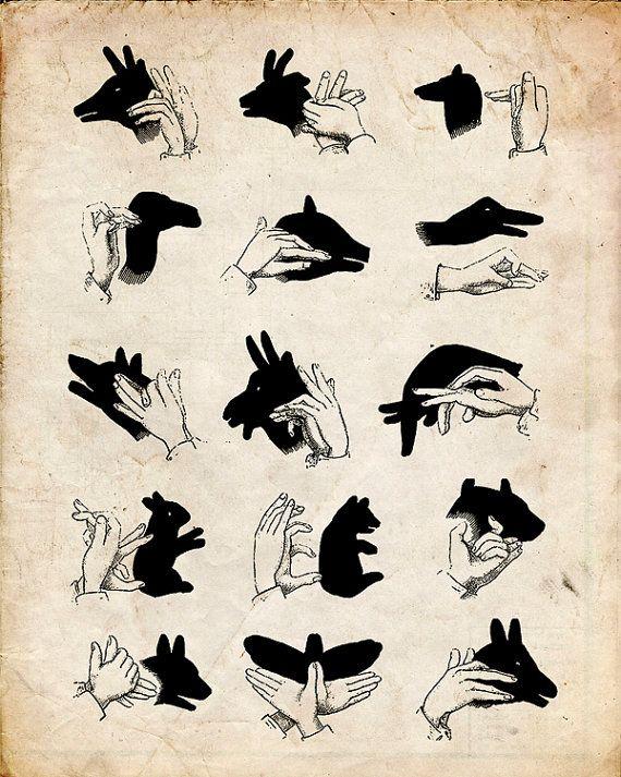 "Vintage Illustration ""Shadow Puppets"" Antique Silhouette Print - Children's Print - Hands Animals"