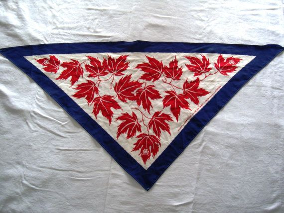 Canadian Girl Guide Scarf Retro Vintage Linen Red Maple Leaves Blue Border Girl Guides of Canada Scouts Jean Miller Scarf GGC Triangular Later Rangers)