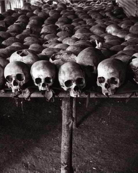 A memorial to the 1994 Rwanda genocide at the Church of Ntarama, in Kigali Province.    Photo by Raymond Depardon.