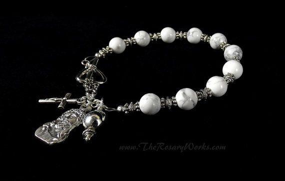 Man of Sorrows Rosary Bracelet Chaplet Suffering Servant Miraculous Medal St Benedict Sacred Heart Good Shepherd White Magnesite Black Onyx