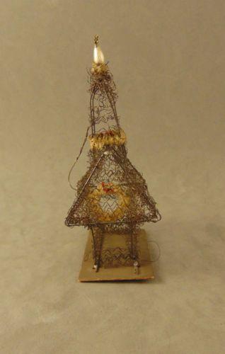 c1900-Antique-German-Sebnitz-Wire-Wrapped-Christmas-Ornament-2-CHURCH-w-STEEPLE