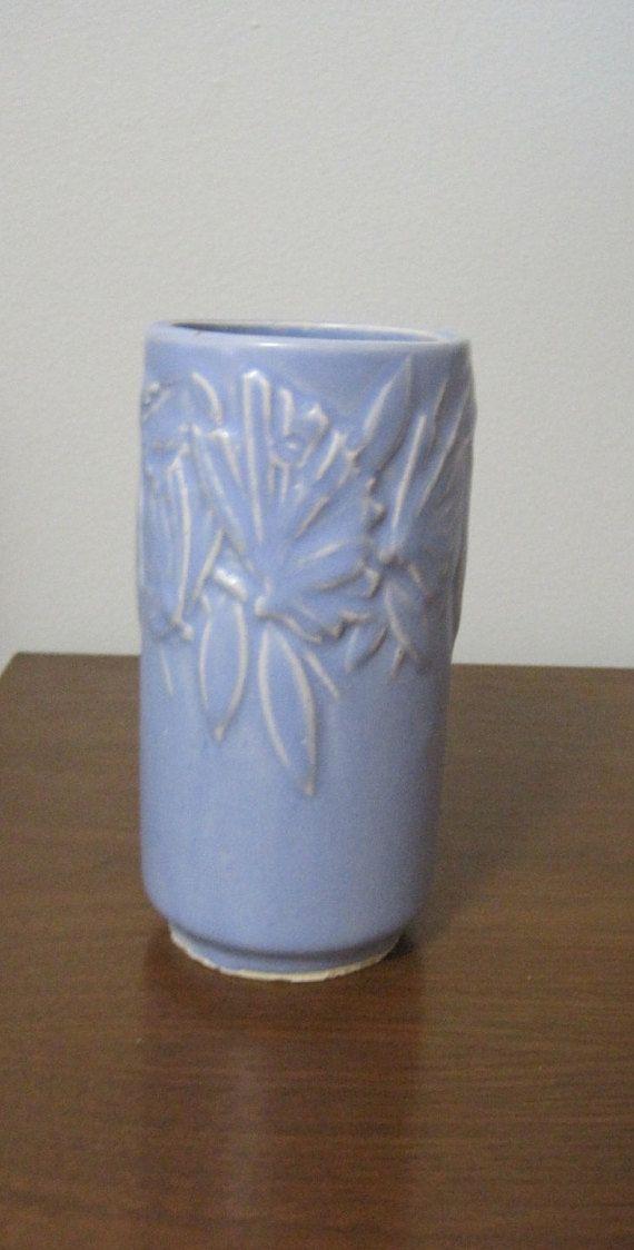 "McCoy Pottery VASE, Raised Butterfly Design, Blue, Nelson McCoy Pottery, 6"" Tall, 3"" Diameter, 1940, Vintage"