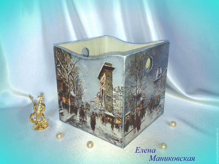 "Купить ""Париж зимой"",короб для хранения. - голубой, Париж, улочки парижа, Живопись, импрессионизм, зима"