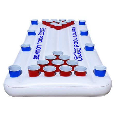 GoPong Pool Lounge Inflatable Beer Pong Table with Social Floating, 6' Long, White