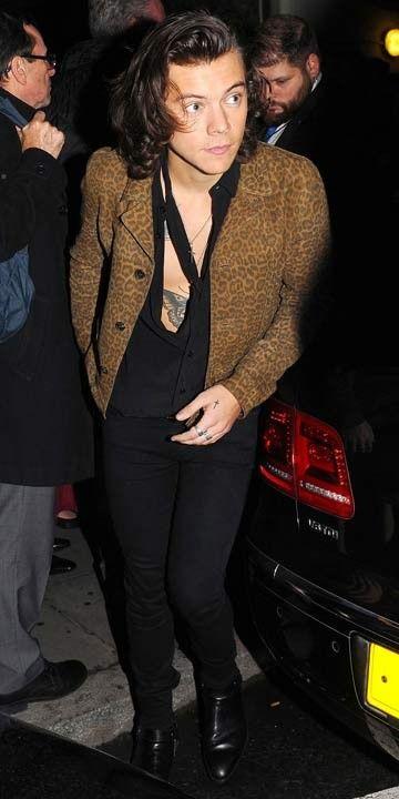 Black shirt and stringy cravat, with leopard print jacket