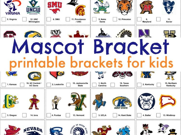 Mascot Bracket for March Madness! Let the whole family enjoy watching the 2017 NCAA tournament with this kid-friendly bracket idea!
